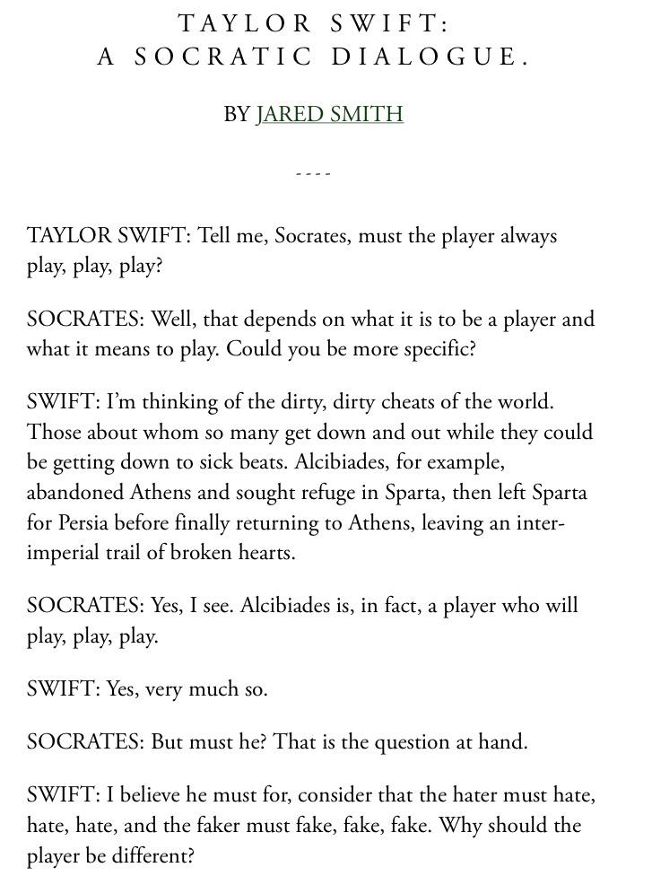 Erin Mcgann On Twitter Taylor Swift A Socratic Dialogue Love