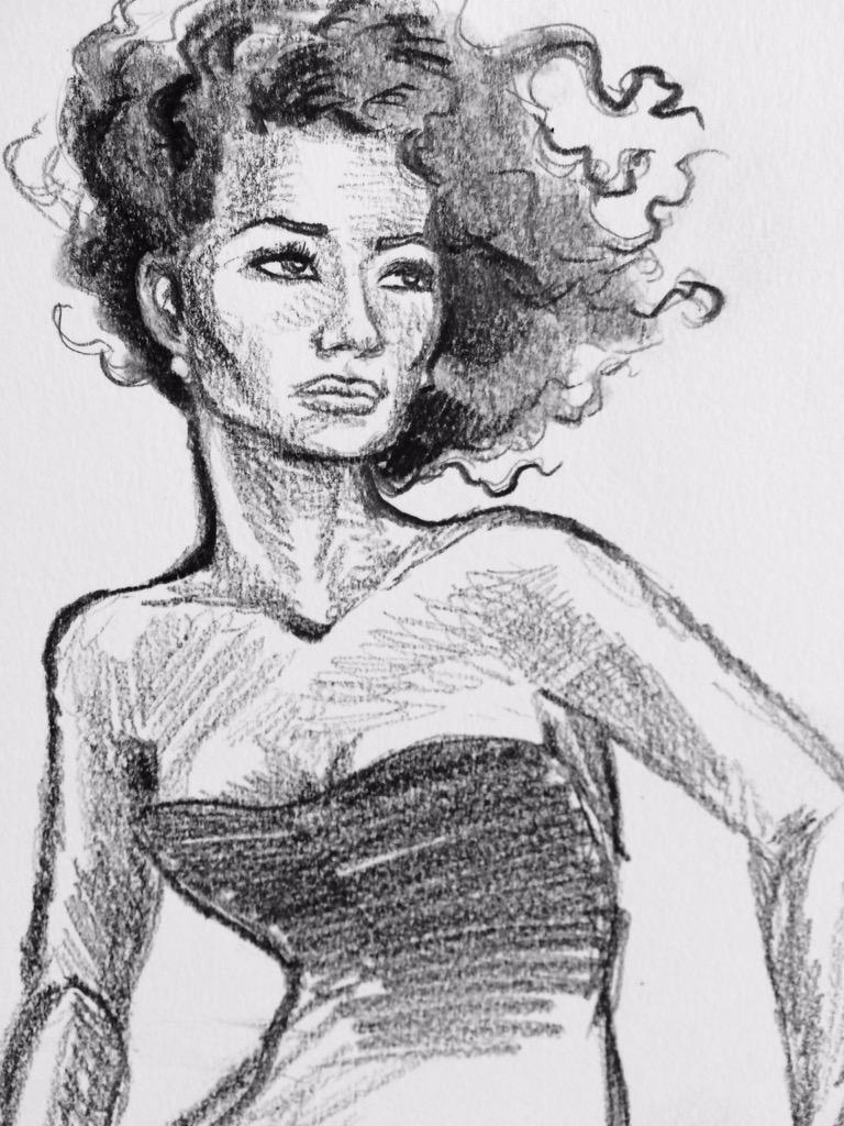 "5-minute #pencil #sketch ""Moneypenny."" #NaomieHarris #007 http://t.co/C3uA67HIEc"
