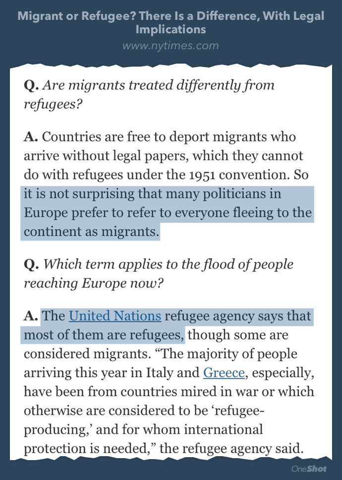 """RT @AstroKatie: Here's why some government officials keep calling the refugees """"migrants."""" It's wrong. http://t.co/VkQCEQqfKQ http://t.co/a…"""