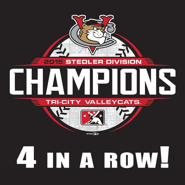 'CATS WIN! And for the 4th year in a row, your ValleyCats are Stedler Division champs!! #VamosGatos!! http://t.co/JhYrx6Bvvz