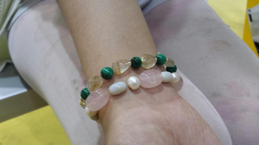 Malachite + Citrne & Rose Quartz w/ Freshwater Pearl & Opal made by one of our customers today! #CNE2015 #booth3209