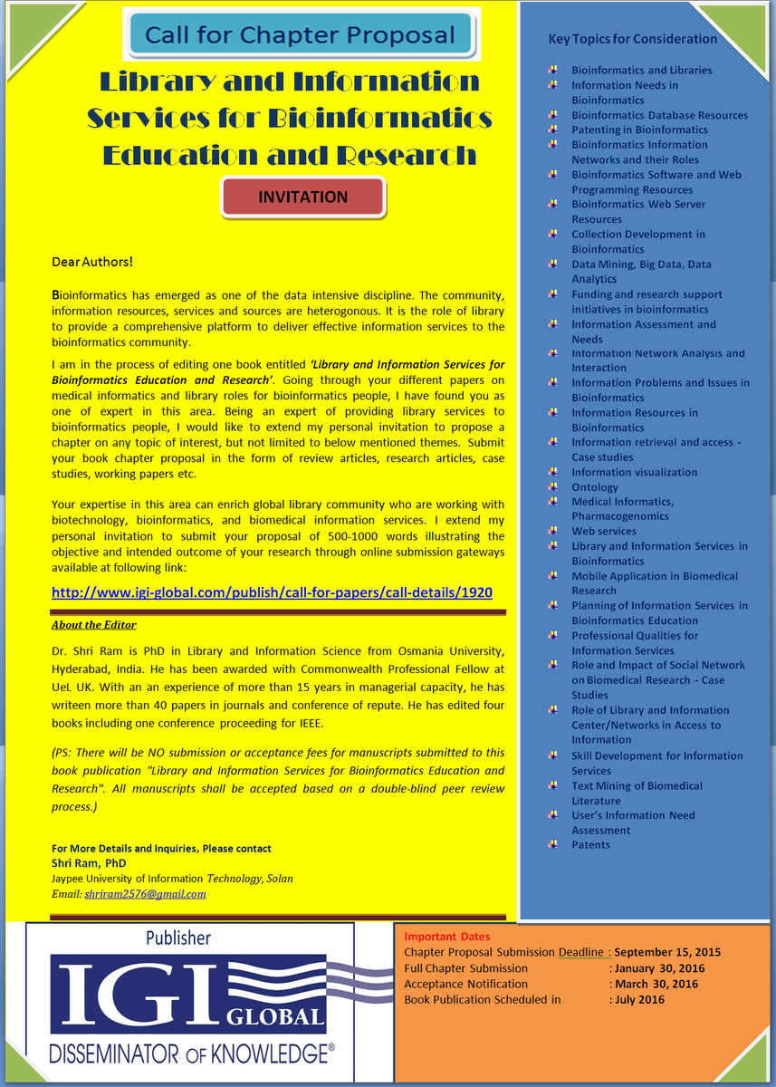 """Dr Shri Ram on Twitter: """"Call for Chapters: Library and Information Services  for Bioinformatics Education and Research http://t.co/vO5qzRUwE6 ..."""