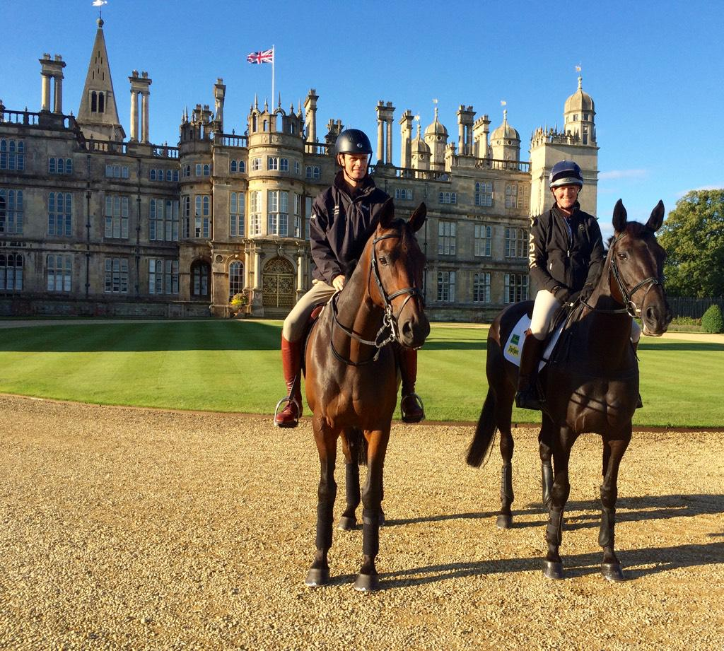 William Fox-Pitt and Nicola Wilson in front of the magnificent Burghley House in the morning sunshine http://t.co/CHJhnlusB3