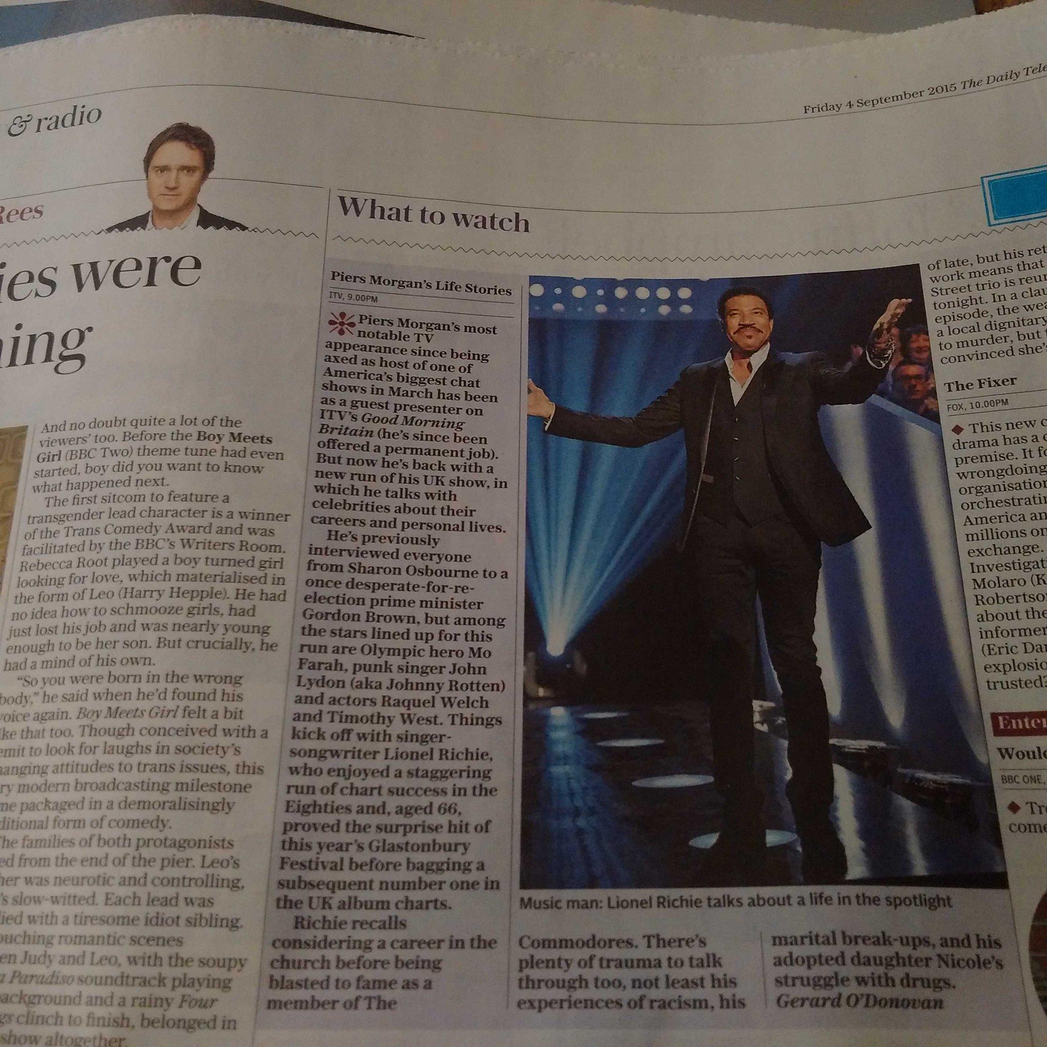 PICK OF THE DAY - @Telegraph #Lionel #LifeStories  ITV 9pm. http://t.co/e0D8Zv9reu