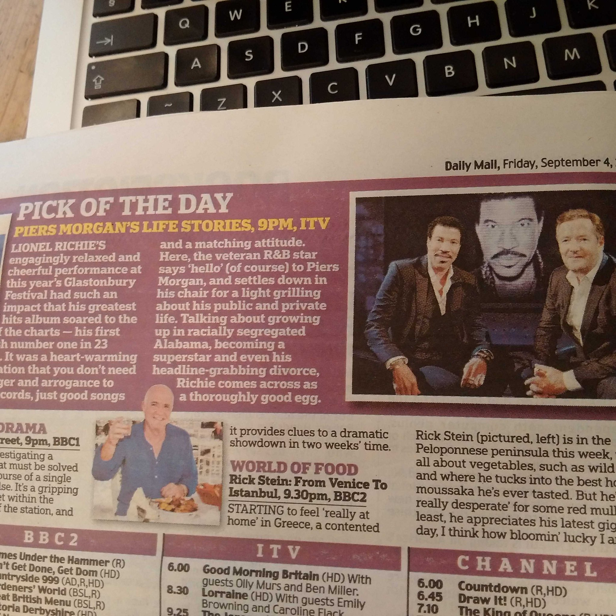 PICK OF THE DAY - @DailyMail #Lionel #LifeStories  ITV 9pm http://t.co/5V57y8JuST