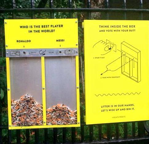 ロンドンにタバコのポイ捨てを止めさせる為に世界最高選手を投票できるゴミ箱が設置される pic.twitter.com/VRxEabeHvJ