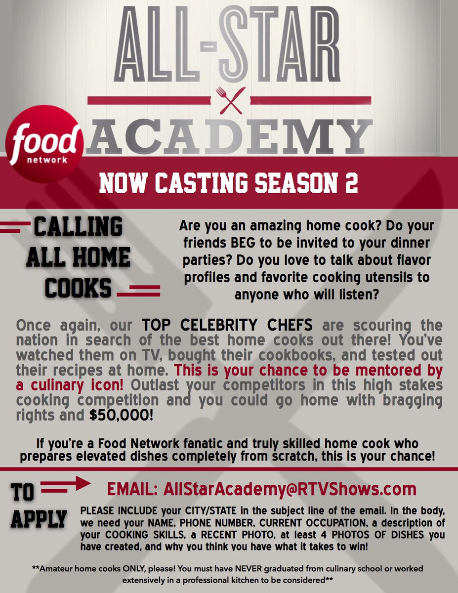 Food Network All Star Academy Casting