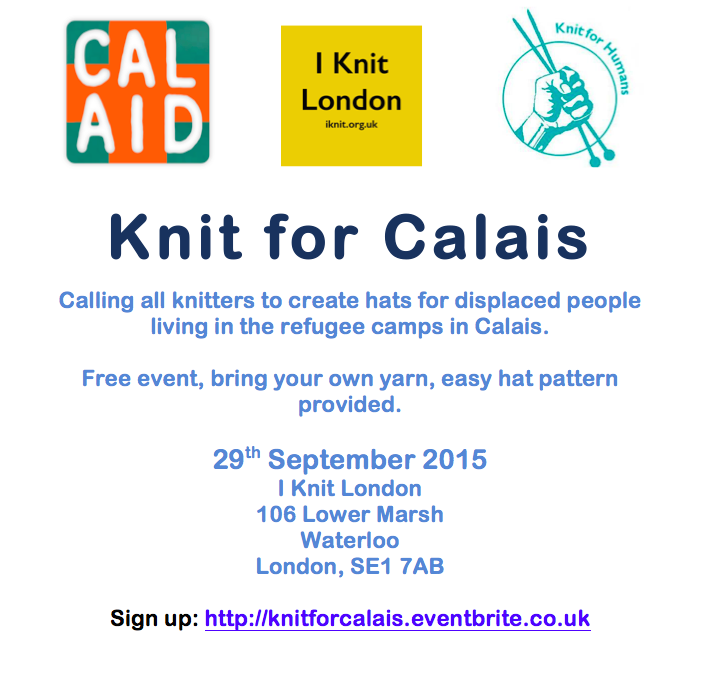 we're knitting for CalAid, come and join us. http://t.co/Kel566ggks