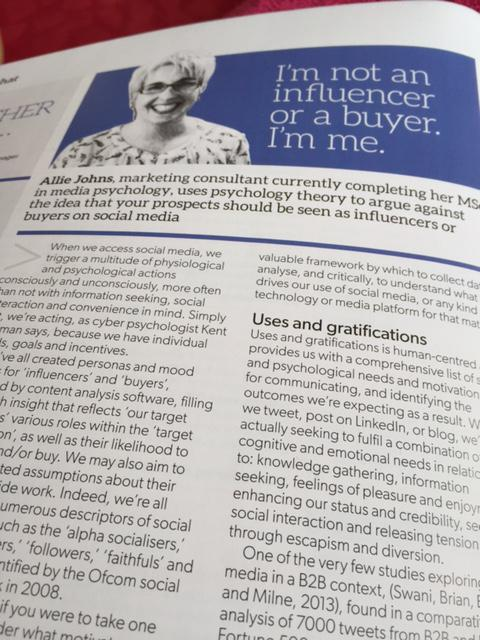 RT @AllieJohns: Proud to represent @UKMediaPsych with an article in this month's @MarketingB2B #socialmedia #psychology http://t.co/l9S8lts…