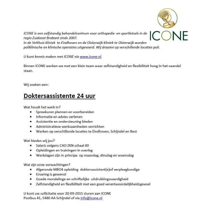 cv doktersassistente ICONE Sportletsels on Twitter: