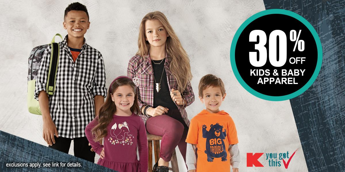 Get your little style stars into looks they'll love. Save 30% off Kids apparel 9/4-9/8. http://t.co/vcBS5A4DWB http://t.co/wZHQzo6mBw