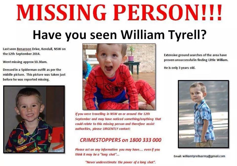 Anyone who has information regarding William Tyrell 1800 333 000 http://t.co/rkv2Qujsdy
