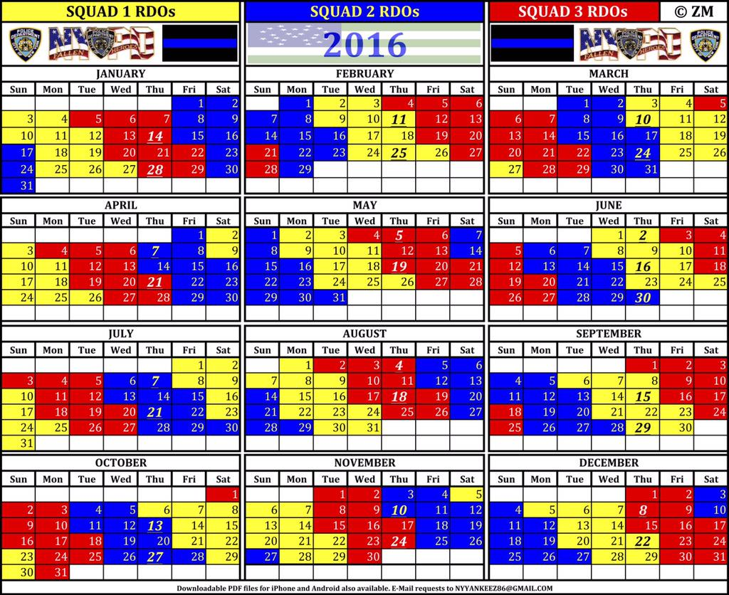 "NYFD+Calendar NYPDMOS on Twitter: ""#2016 #NYPD Squad RDO #calendar ..."