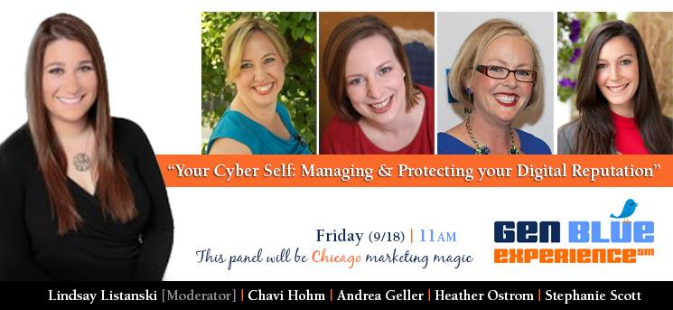 """Sept 18 at 11am in Chicago @RosevilleRockLn, @Chavih, @LListanski and me talking """"Managing Your Cyber Self"""" #GenBlue http://t.co/QXYZ0XoGKR"""