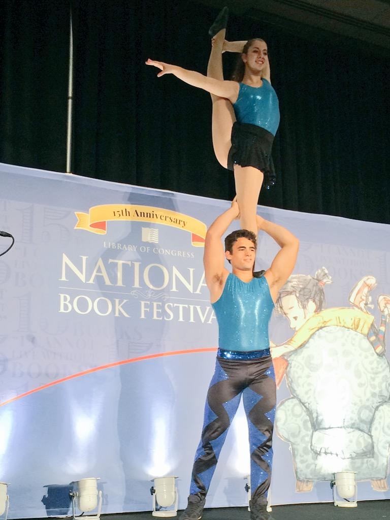 @circusharmony performing during @cylev's #NatBookFest15 presentation on #WatchOutforFlyingKids @librarycongress http://t.co/JDOwH7ZwXm