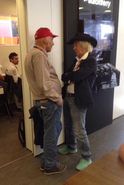 'Nice to see you'. Niki Lauda and Arturo Merzario, the man who pulled Lauda from his blazing Ferrari in 1976 #F1 http://t.co/qn849kdsnw
