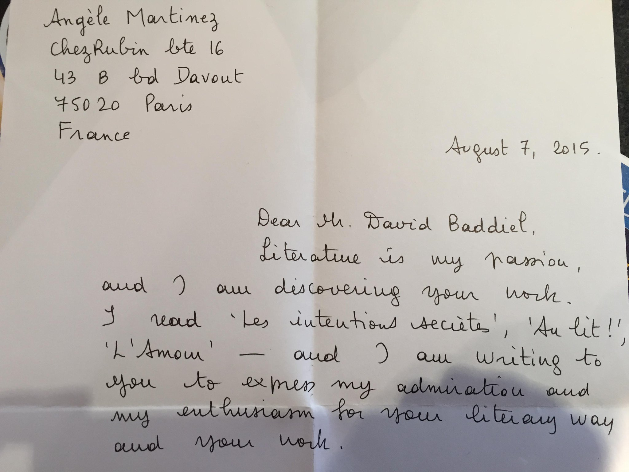 Received this French literary fan letter this morning. Only it seems to be something else...https://t.co/uHxGOIkDmd http://t.co/c7yvyY5U72