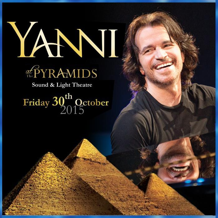 The 1st time ever in Egypt, Yanni will perform @ the Great Pyramids of Giza in Cairo! Fri, Oct 30, 2015! STAY TUNED! http://t.co/CK1uHL5KPB