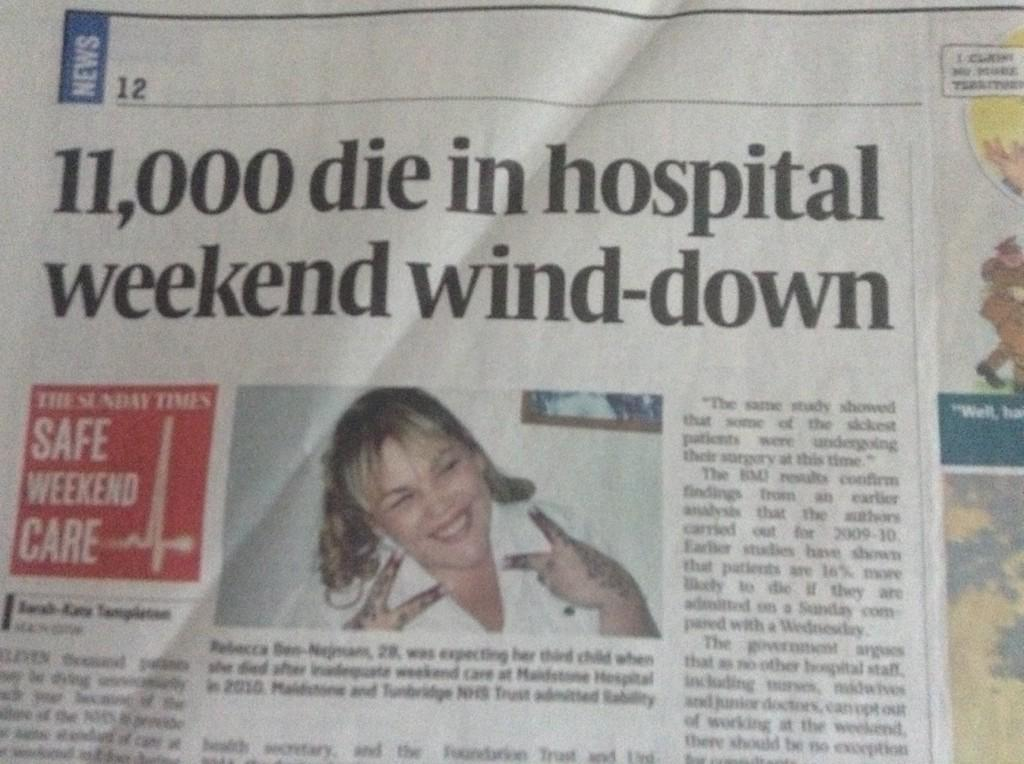 Increased risk of dying if admitted to hospital at wknd ~ 0.3%. Yet Sunday Times prints this https://t.co/mkUWfpKnYy http://t.co/SFRvdF6C3k