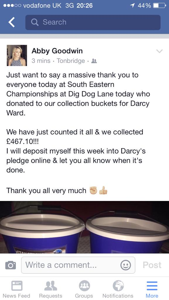 Big Thank you to everyone @ South Eastern Champs today for your donations for Darcy Ward!! We collected £467.10! ✊