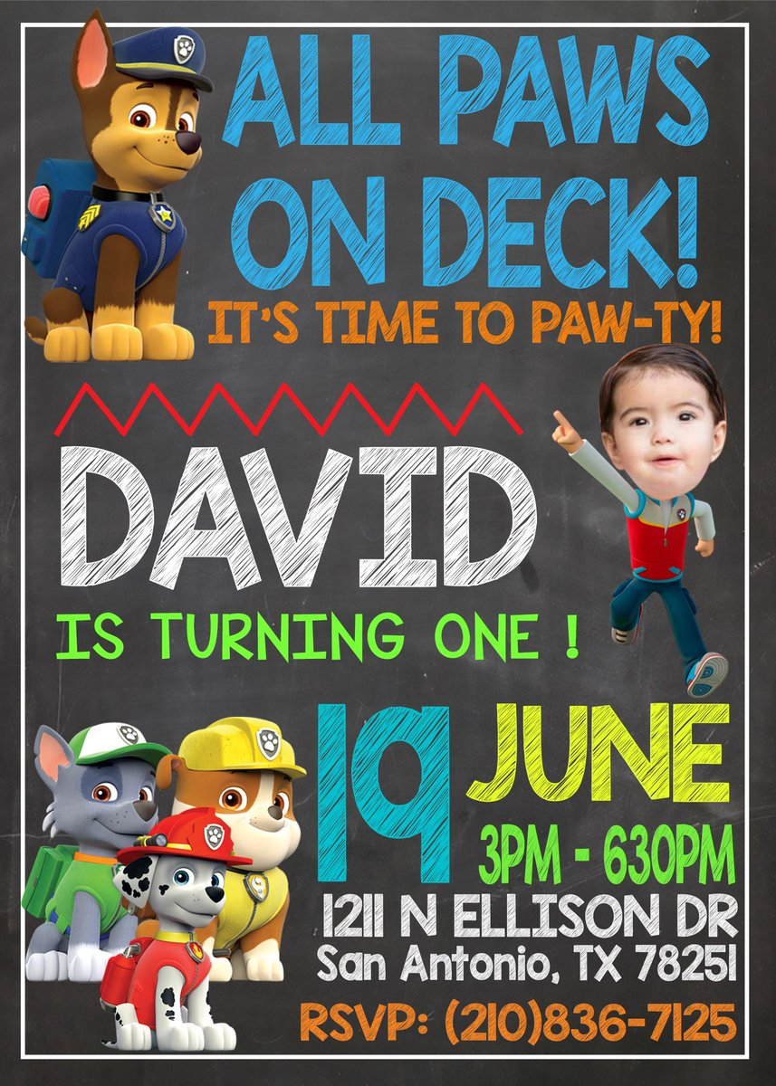 Custom Bday Invites On Twitter A Custom Paw Patrol Personalized