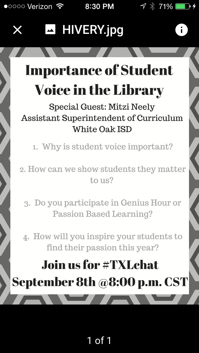 Join us for #Txlchat Tuesday at 8:00 pm CST as we discuss student voice. #tlchat #txed #edchat @MitziNeely http://t.co/duVHoyBLzo