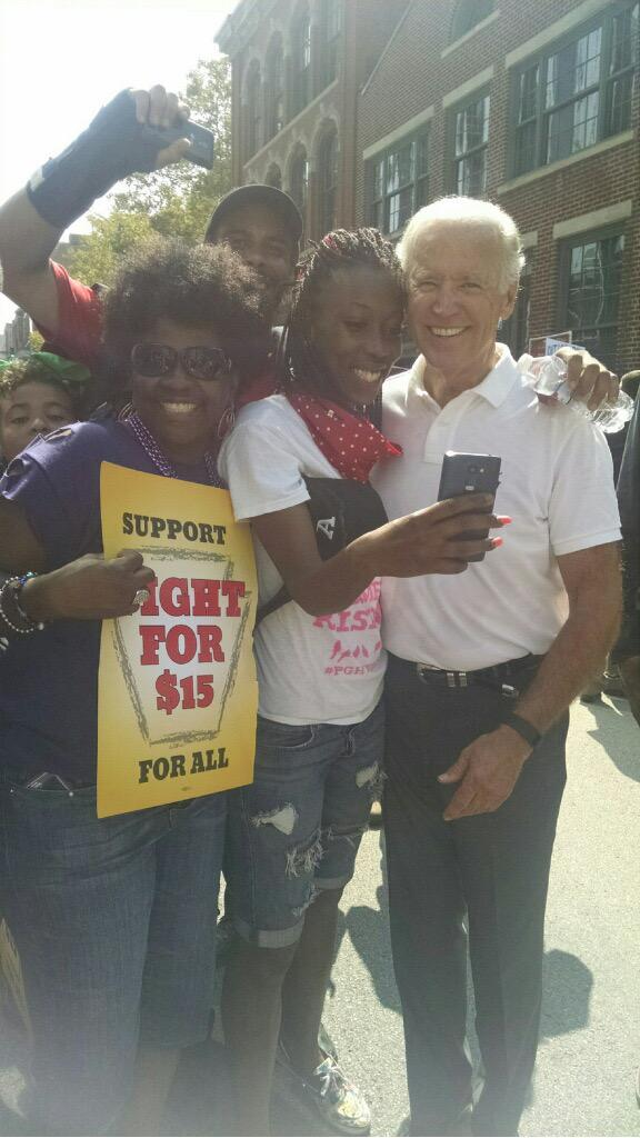 AGH worker Brenda Copeland and @VP supporting the #FightFor15 on #laborday http://t.co/sK0kuV20OH