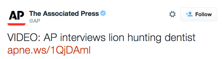 Why we need hyphens — because a lion-hunting dentist is not the same thing as a lion hunting dentist. http://t.co/rIElfpYCxb