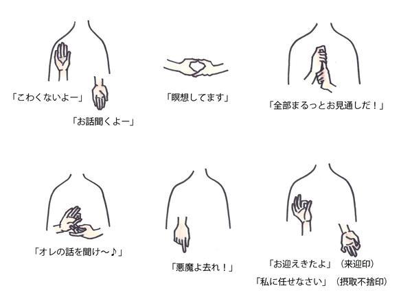 【印相とは】印は仏の御利益や担当部門、意志などを象徴的に表現する手の形。施無畏印・与願印→釈迦如来、智拳印→大日如来、輪を作る→阿弥陀如来など仏像を見分ける一つのポイントにもなる。特に密教では、教理そのものを表し重要な意味を持つ。