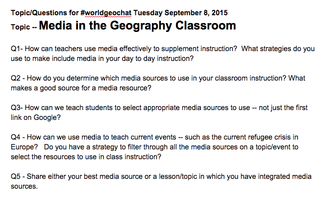 Thumbnail for #worldgeochat - Media in Geography Classroom