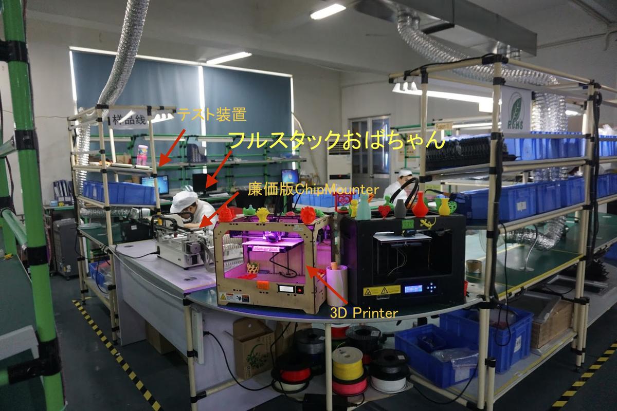 あとSeeedStudioにいたフルスタックおばちゃん。フルスタックおばちゃんは、従来の半田づけにくわえ、廉価版チップマンターから3D Printerやテスト装置まで使いこなす。 http://t.co/uEhxlphYmd
