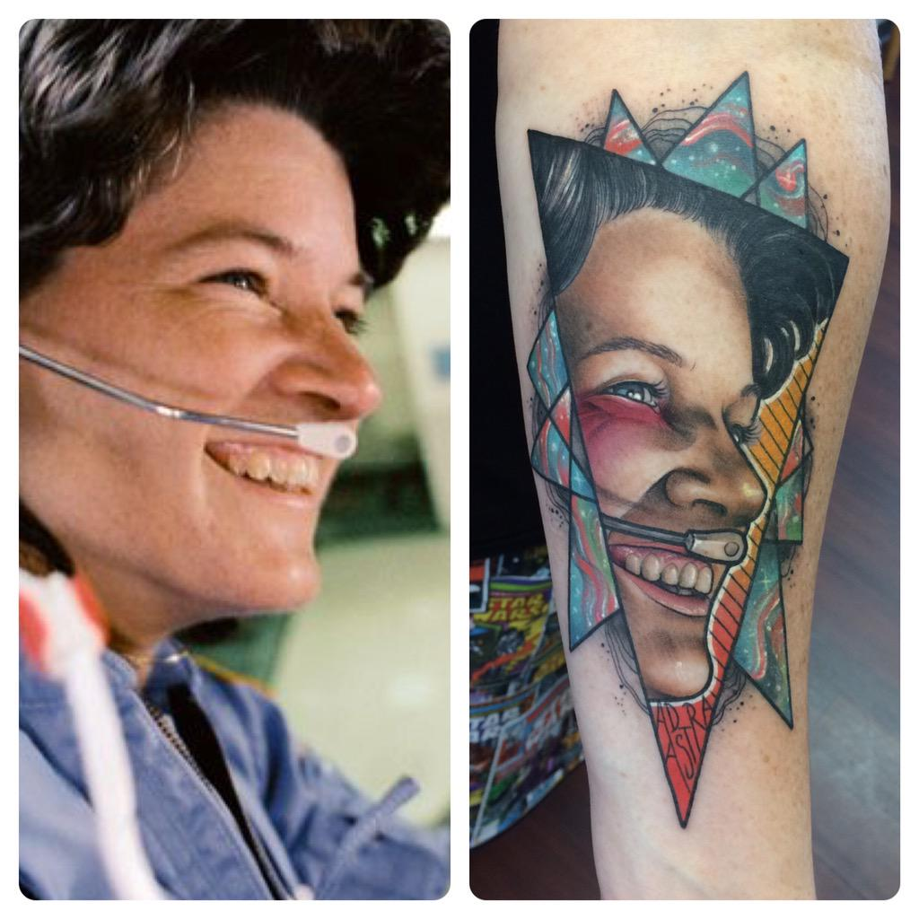@smrtgrls celebrated my 40th birthday & getting my dream job at NASA by getting a tattoo of Sally Ride. ☺️ http://t.co/VPDw2oSeuH