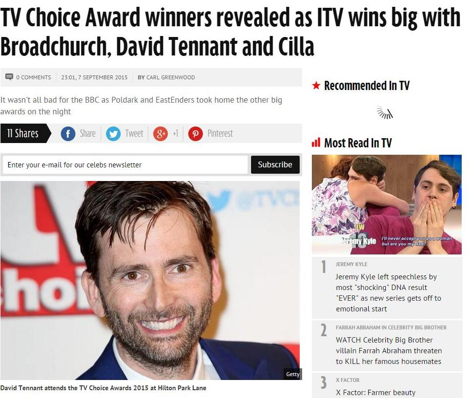 TV Choice Award winners revealed as ITV wins big with Broadchurch, David Tennant and Cilla