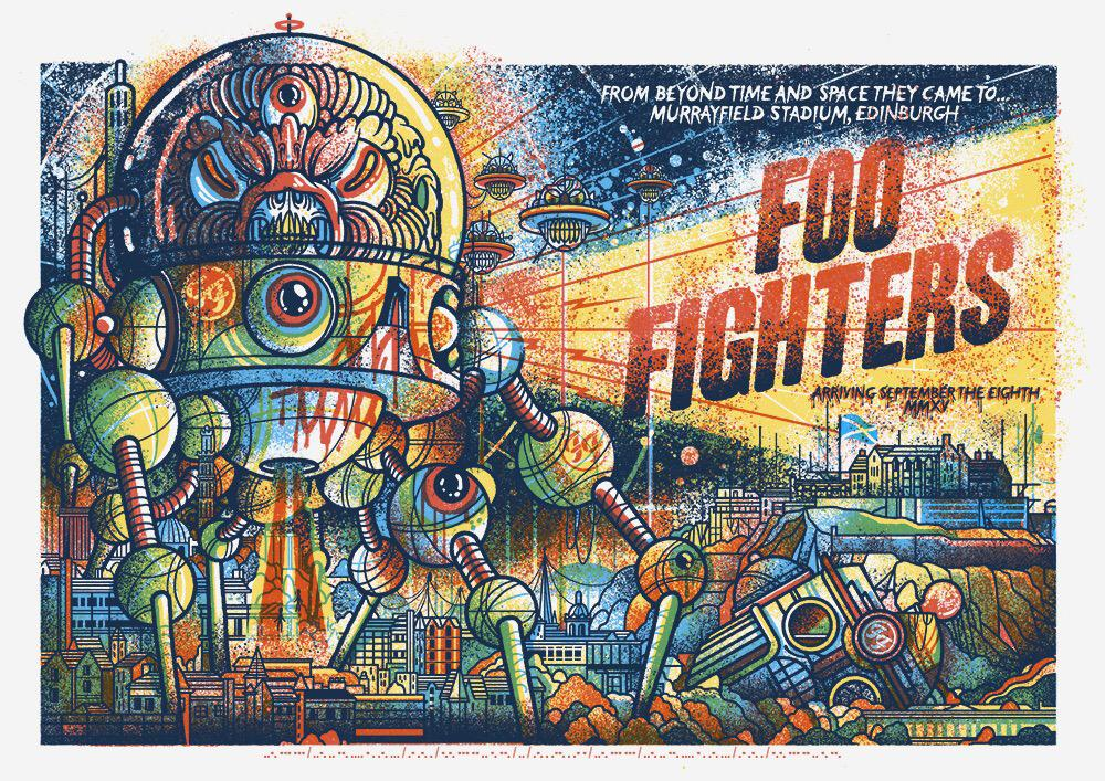 Tonight @foofighters play Murrayfield Stadium. They asked me to make a poster. I made a poster. This is the poster. http://t.co/ePSpY0YWDK