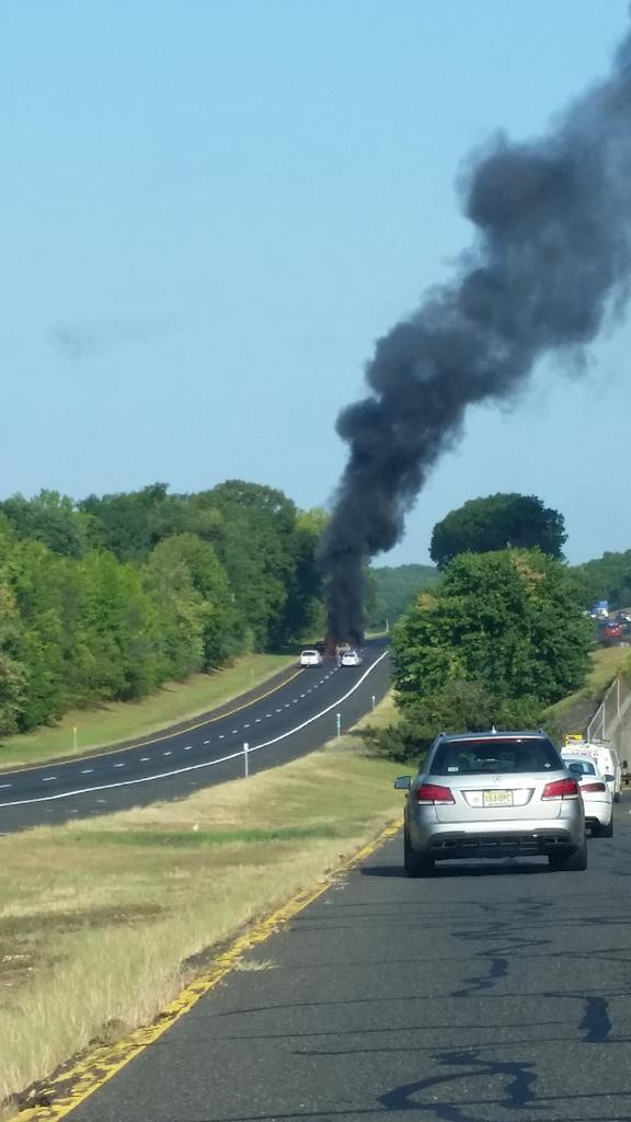 traffic delays due to wreck and car fire on garden state