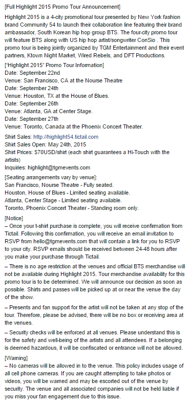 Info Bts Will Be At Highlight 2015 Tour In Usa And Canada On Sept