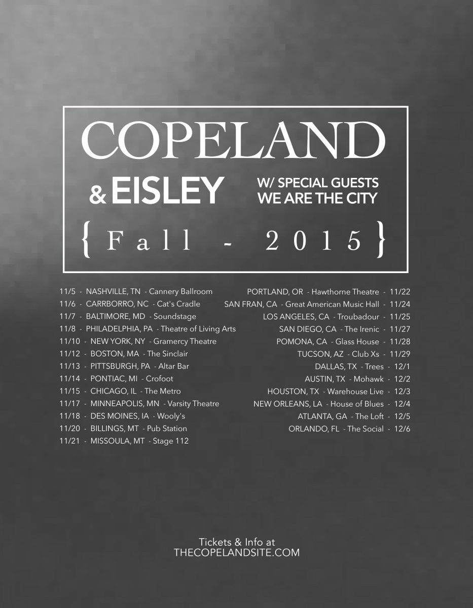 Excited to announce we'll be touring/supporting @copelandband in November! ON SALE is Friday. More info soon! http://t.co/ogLal7eDHO