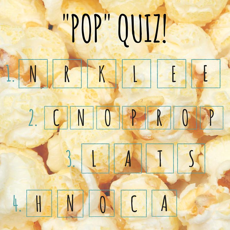 """""""Pop"""" Quiz! Play for a chance to win a Popcorn Party Pack! Just RT & DM us your best guess of these jumbled words! http://t.co/7LU0NkHCOs"""