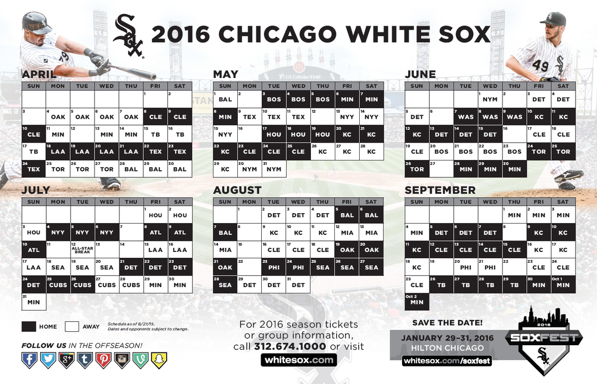 2016 schedule released white sox interactive forums