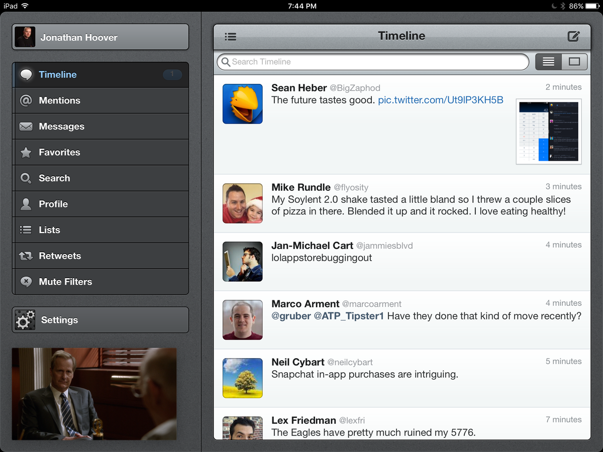 Tweetbot 2 for iPad has a perfect spot for iOS 9 PiP. http://t.co/mBh1nuVoKF