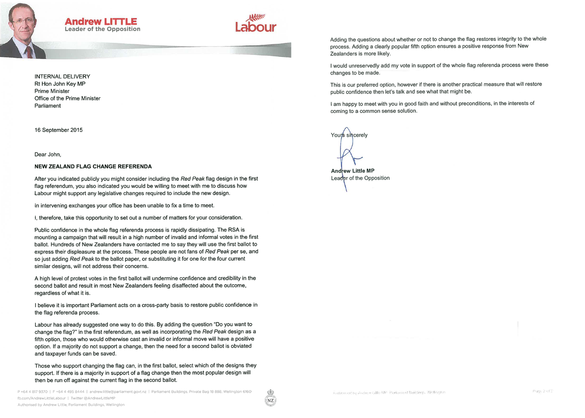 Andrew Little on Twitter Sent this letter to John Key this – Good Faith Letter