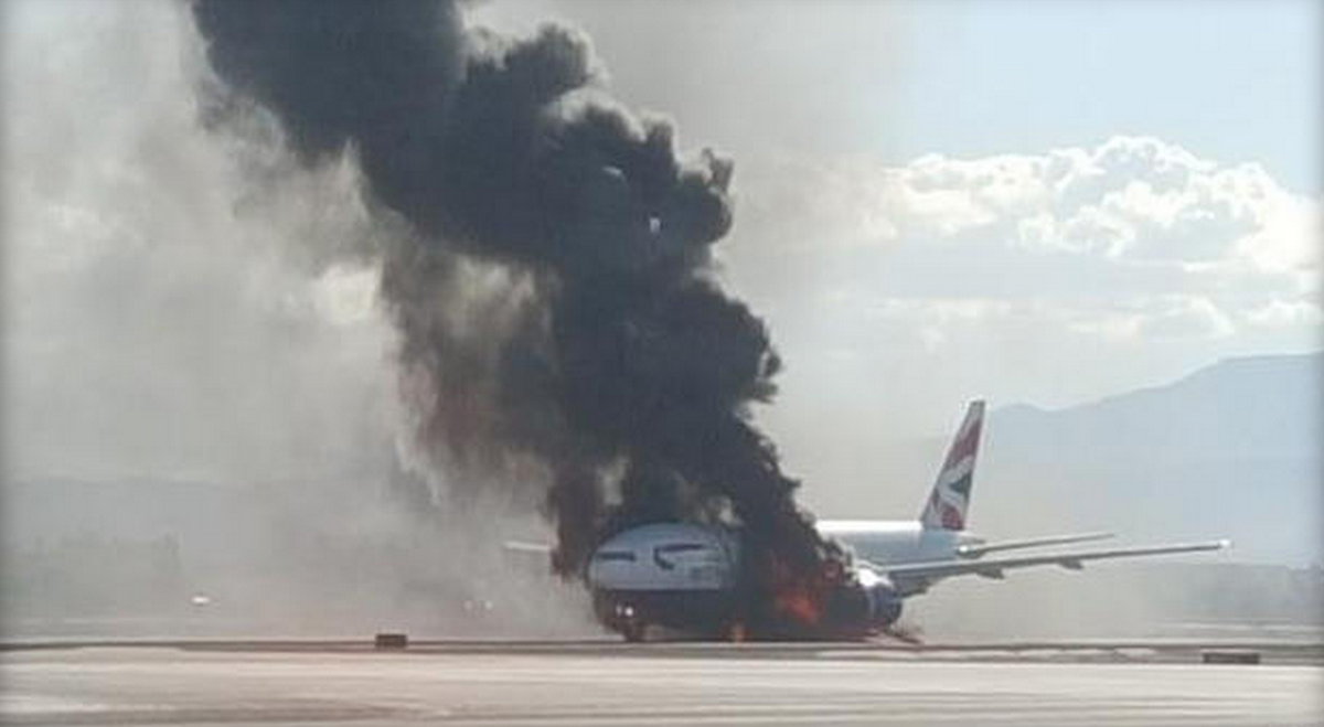BRITISH AIRWAYS JET BURSTS INTO FLAMES ON LAS VEGAS RUNWAY…