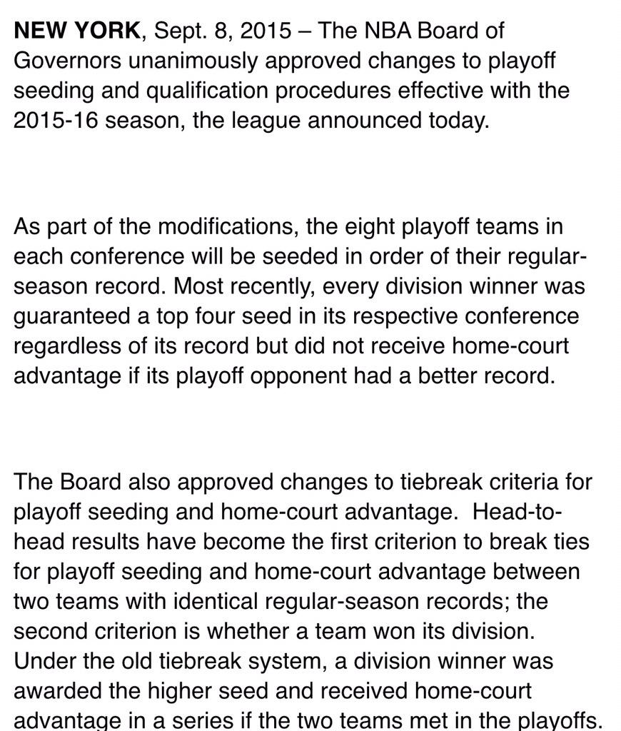 NBA Announces Changes to Playoff Seeding: Details, Comments and Reaction