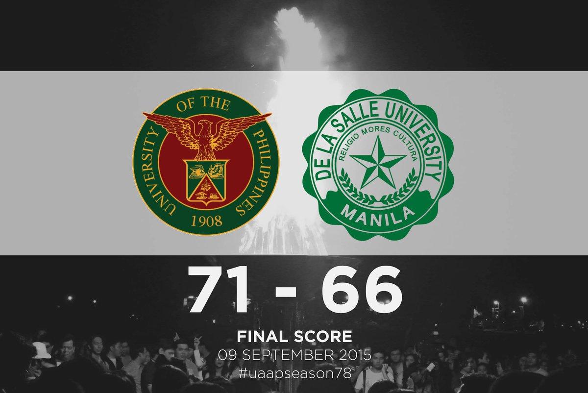 .@upsystem wins 2nd UAAP Season 78 Men's Basketball Game vs @DLSUManila, 71-66. #UPFight! http://t.co/e7xcEbKSld