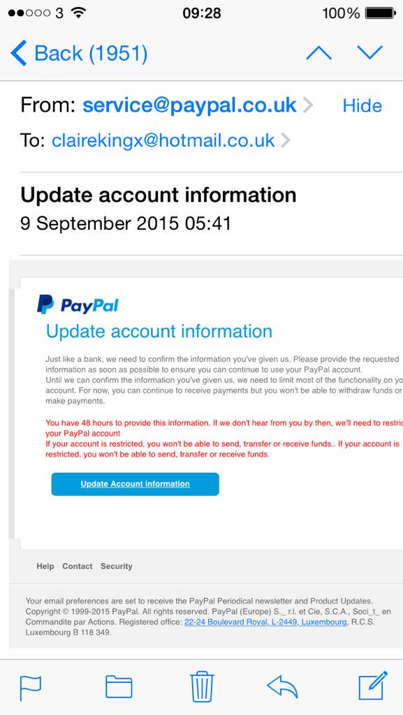 paypal infosec on twitter claireking28 this is fake please forward to spoofpaypalcom learn more here httpstcoabw2nevxd1