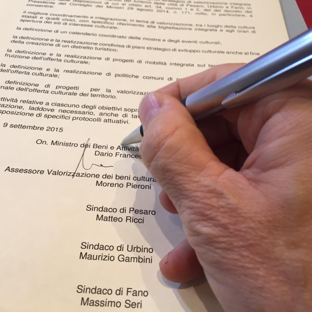 Firmato l'accordo di valorizzazione e integrazione del sistema museale con i Sindaci di #Pesaro, #Urbino e #Fano.