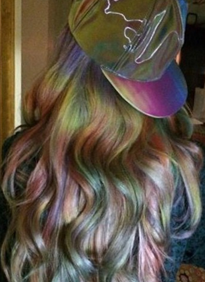 Brunettes Can Finally Get Pastel Hair With The New Oil Slick Trend