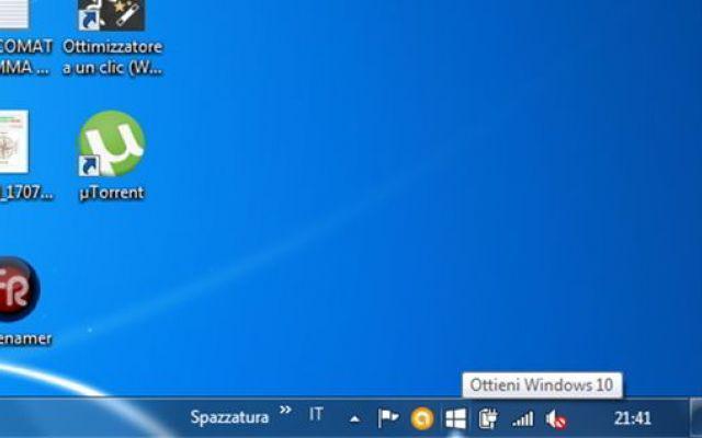 Come rimuovere l'icona dell'aggiornamento a Windows 10.