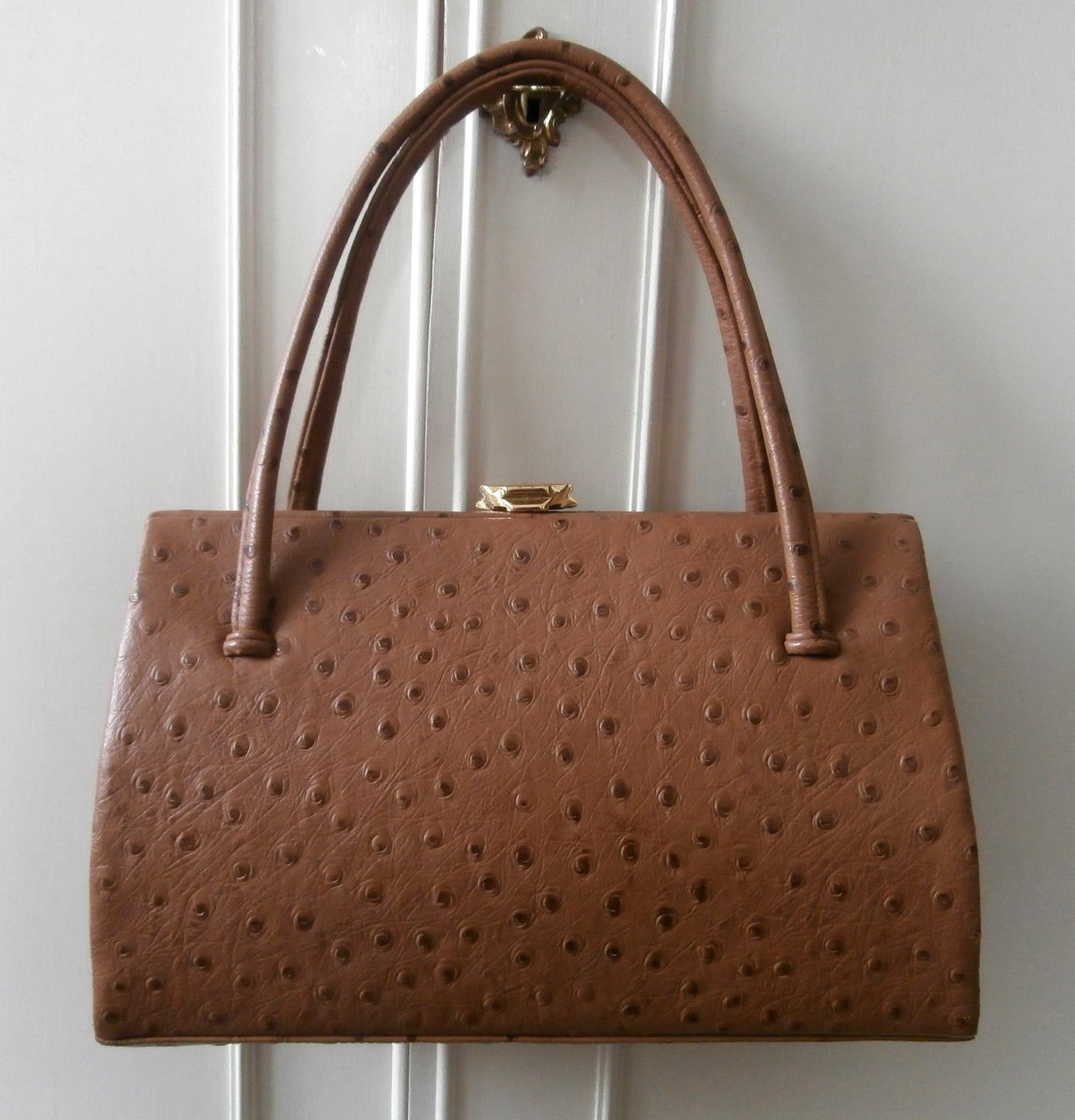 Ostrich Leather In Rich Brown Ebay Co Uk Itm Vintage 1950s Suede Lined Waldybag Kelly Ladylike Hand Bag 311442009334