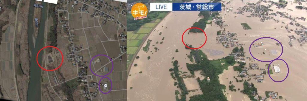 鬼怒川の決壊箇所はやはりメガソーラーで削った所? http://t.co/xaxPqTL8vM
